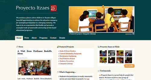 Proyecto Itzaes homepage screenshot