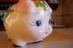 F bought this piggy bank. She's so cute, it will be hard to smash her open.